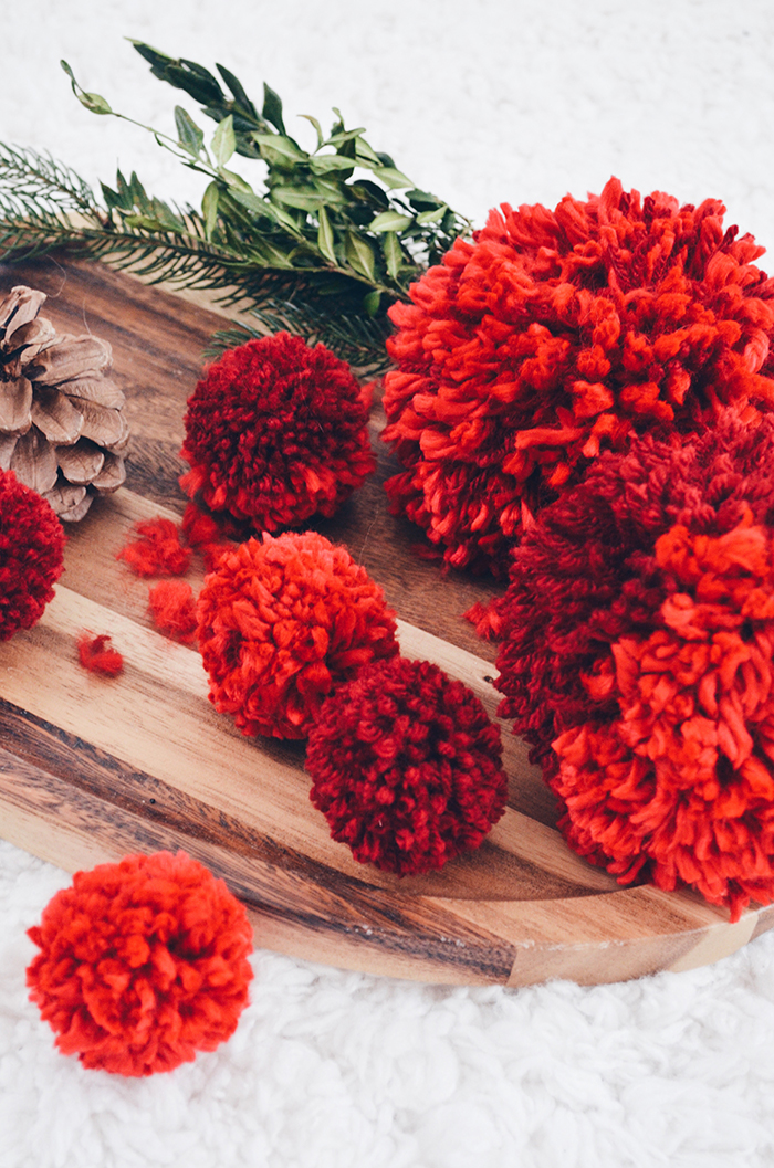 using pom poms for Christmas decorations
