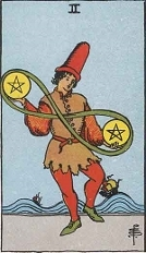 The Two of Pentacles, RWS