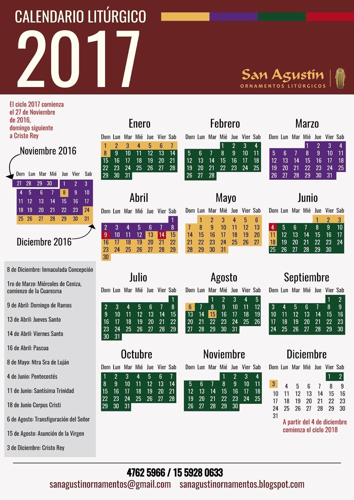 """Calendario Liturgico 2017 - Ciclo """"A"""""""