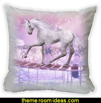 Unicorn On Bridge Pink Background Microfiber Throw Décor Pillow Cushion