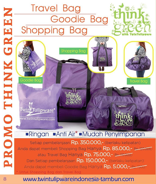 Promo Think Green Maret 2016 ; Travel Bag, Goodie Bag, Shopping Bag