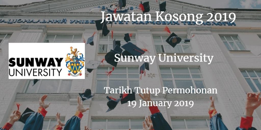 Jawatan Kosong Sunway University 19 January 2019