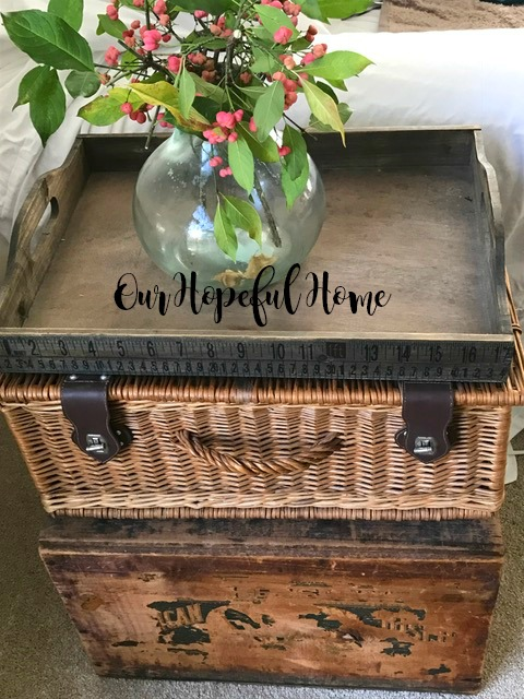 Thrill of the Hunt thrifted goods decor wicker suitcase New York Biscuit Company crate