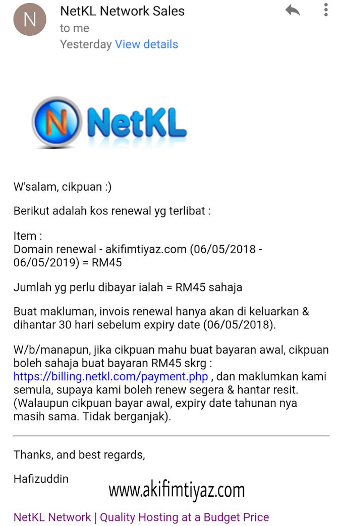 Renew Domain Blog Akif Imtiyaz Untuk Setahun Lagi