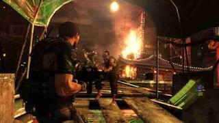 Leon fighting zombies