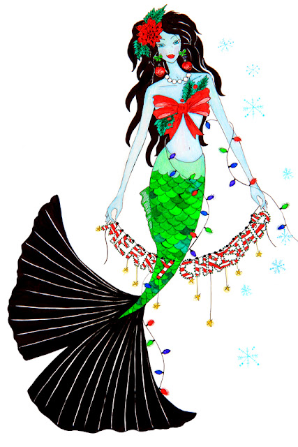 Christmas Holiday Mermaid Illustration by Mademoiselle Mermaid