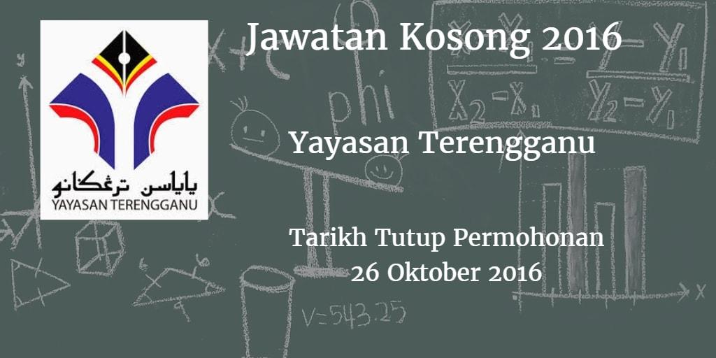 Jawatan Kosong Yayasan Terengganu 26 Oktober 2016
