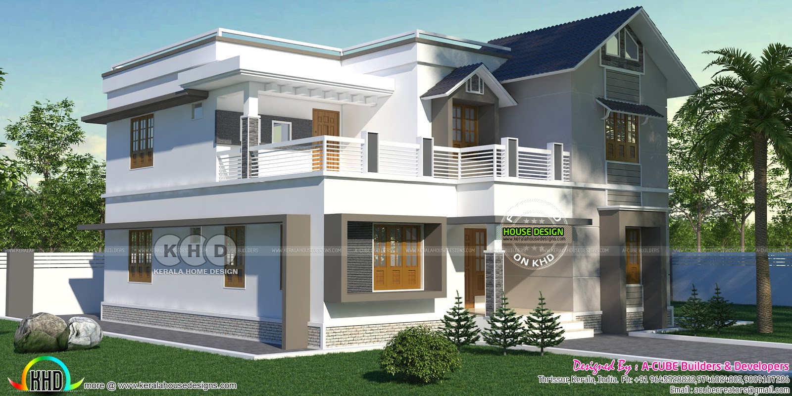 2285 square feet 4 bhk home in mixed roof style kerala for 4 bhk home design