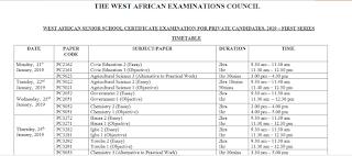 WAEC GCE Exam Time-Table 2019/2020 | January/February 1st Series