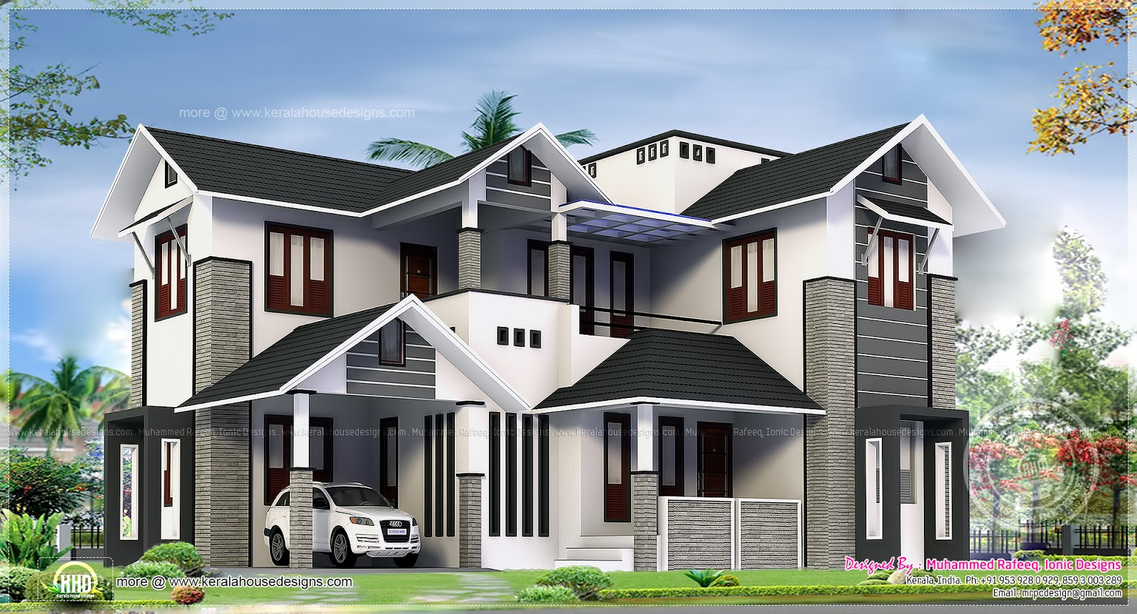 2329 square feet feel big house exterior kerala home for House plan for 2000 sq ft in india