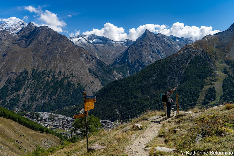 Gemsweg Trail Signs and Gate Things to Do in Saas-Fee Switzerland in Summer