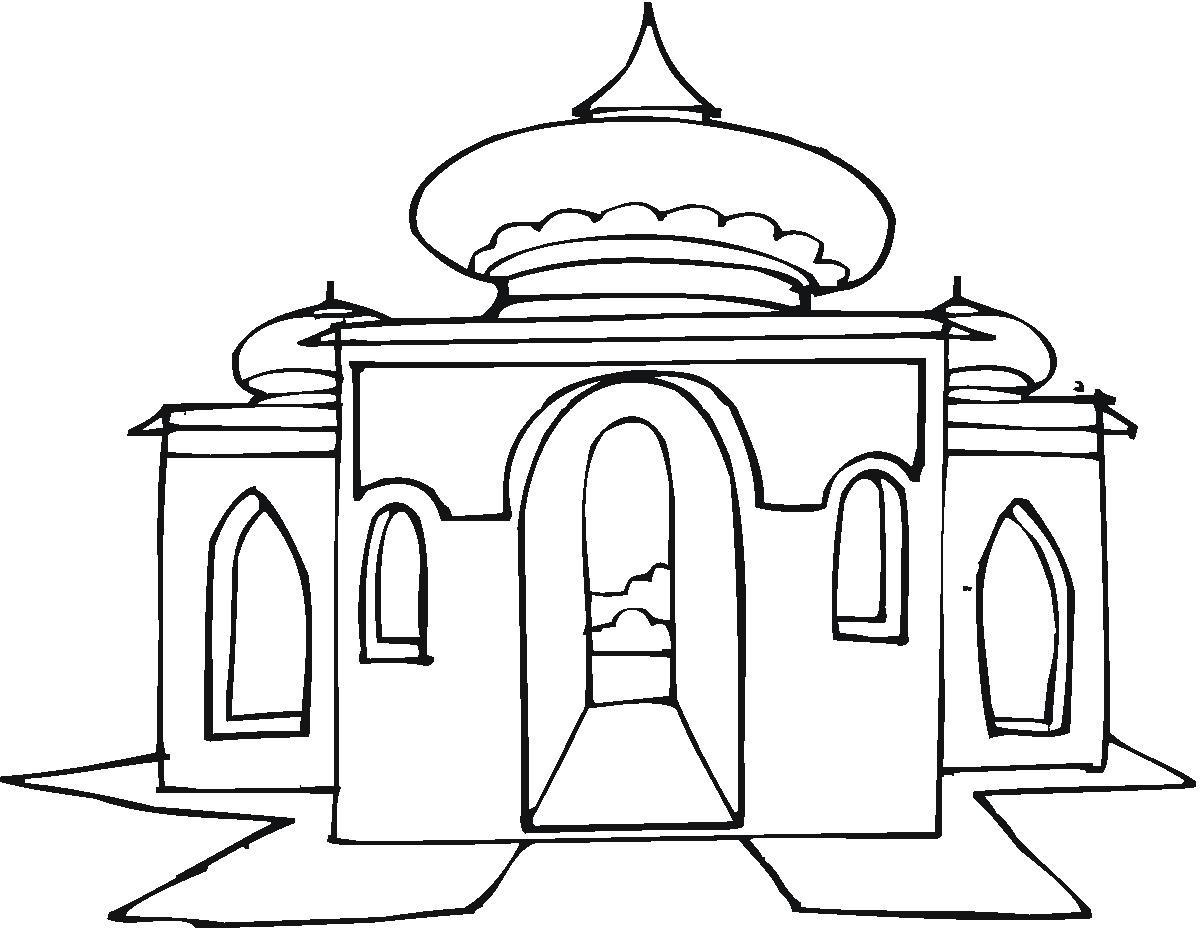 Cara Mewarnai Gambar Pemandangan Masjid 2 Kartun Anak