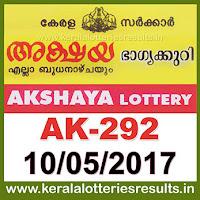 Keralalotteries, kerala lottery, keralalotteryresult, kerala lottery result, kerala lottery result live, kerala lottery results, kerala lottery today, kerala lottery result today, kerala lottery results today, , kerala lottery result 10.5.2017 akshaya lottery ak 292