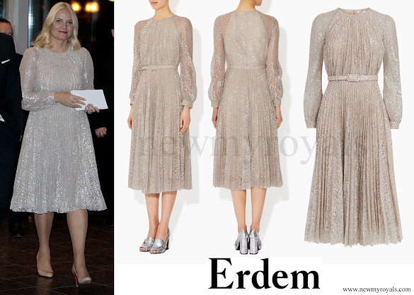 Crown Princess Mette-Marit wears ERDEM Rhona Silver Metallic Floral Lace Dress