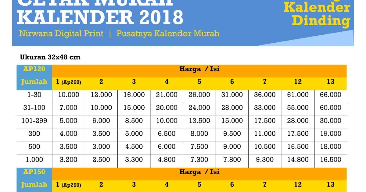 Nirwana Digital Print: Cetak Kalender 2018 Murah di Jawa Timur