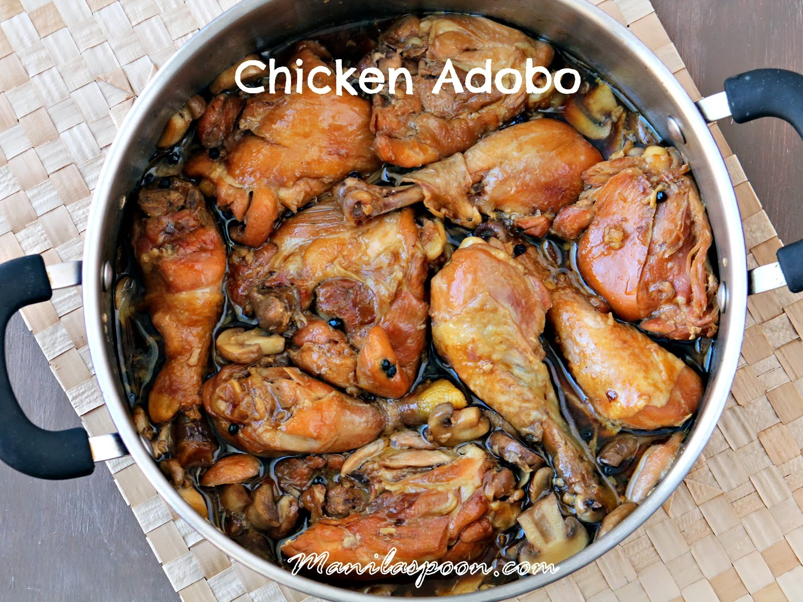 This sweet-salty, vinegar-free Chicken Adobo version is so yummy! You'll be mopping up all that sauce on your plate. #chicken #adobo #filipinofood