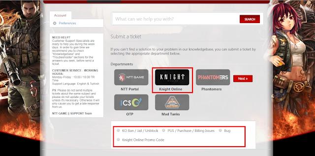 KO, ko, kngiht, knight online, ticket, bilet, bilet sistemi, knight online ticket, knight online, knight online ticket sistemi, pus, ban, bug, report, nttgame, ntt, destek, chat report, gm,