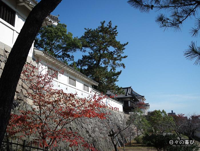 Vue sur le mur d'enceinte, Château de Fukuyama, Hiroshima-ken
