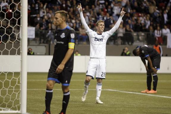 Vancouver Whitecaps player Corey Hertzog celebrates after scoring against FC Edmonton