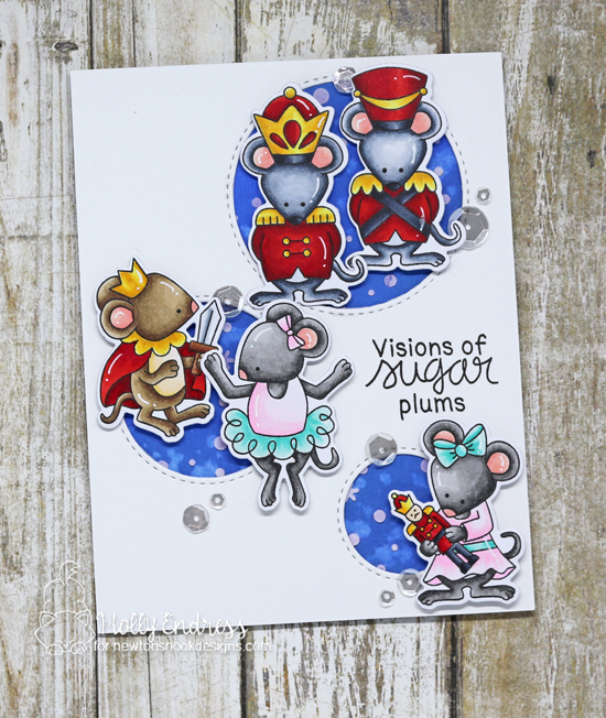 Nutcracker Mice Christmas card by Holly Endress | The Nutcracker Squeak Stamp Set by Newton's Nook Designs #newtonsnook #handmade