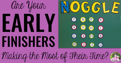 "Image of Noggle board and text, ""Are Your Early Finishers Making The Most of Their Time?"""