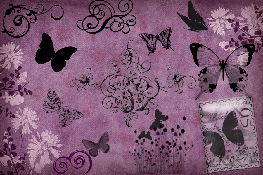 Pink vintage butterfly background - photo#47