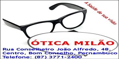 ÓTICA MILÃO - CENTRO, BOM CONSELHO/PE