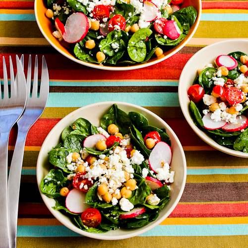 Mediterranean Spinach Salad with Garbanzos, Tomatoes, Radishes, and Sumac-Lemon Vinaigrette found on KalynsKitchen.com