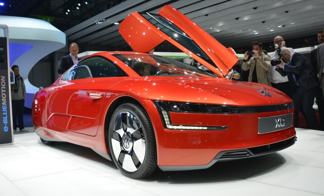 Red VW XL1 at Geneva 2013