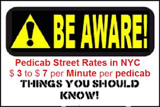 NYC pedicab street rates, pedicab rides cost vs Pedicab tour rates