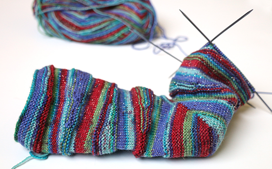 Striped Sock Knitting in Progress
