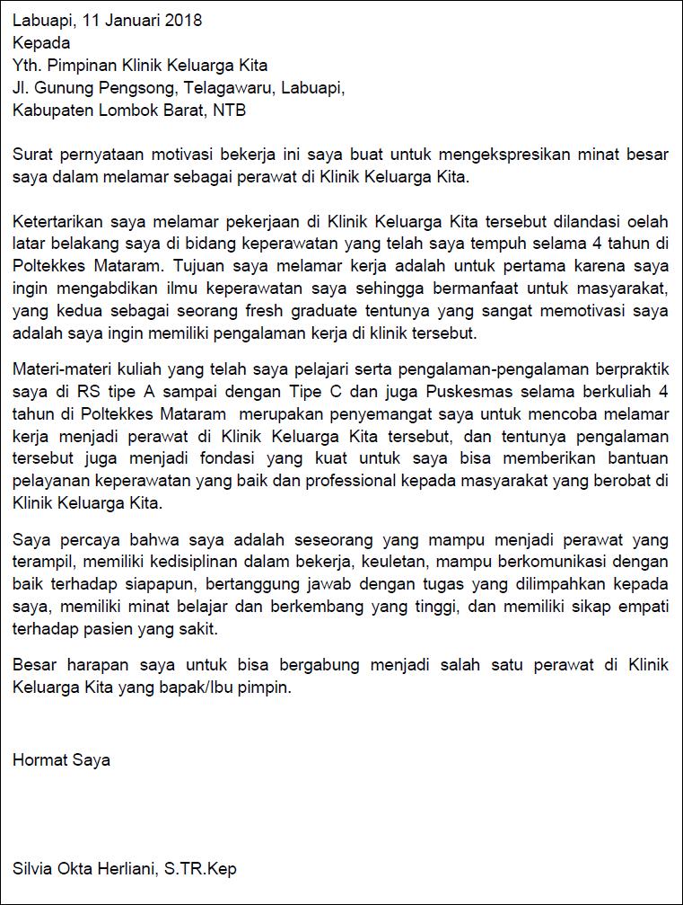 Contoh Motivation Letter Melamar Kerja