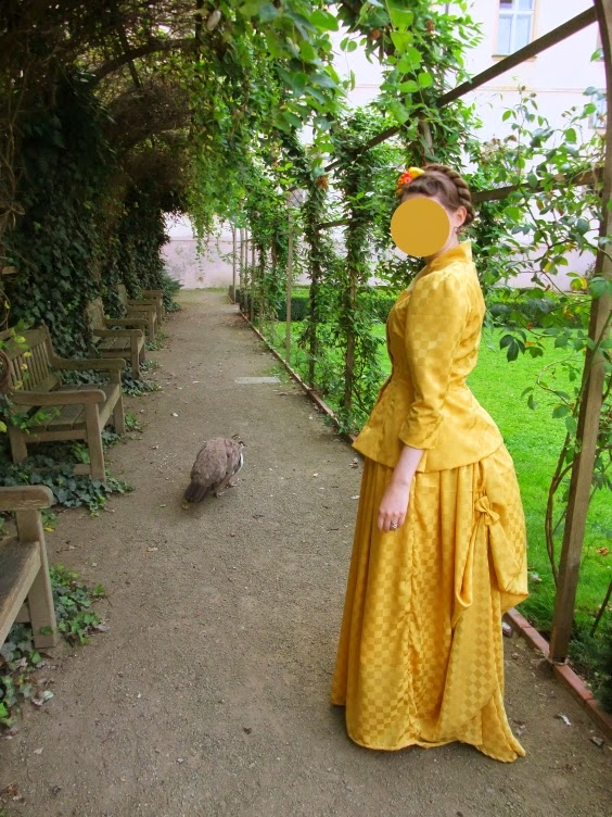 bustle, gown, victorian, Victoria, yellow, picnic, handmade, diy, peacock