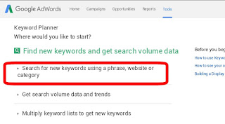 how to use AdWords planner tool in android