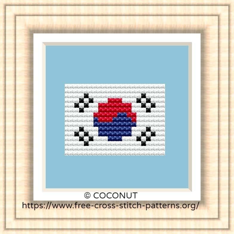 NATIONAL FLAG OF REPUBLIC OF KOREA CROSS STITCH CHART