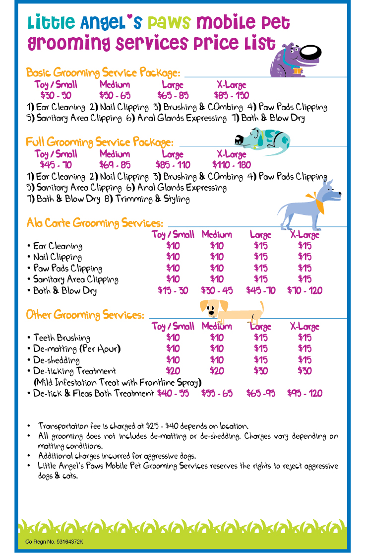 Little Angel's Paws Mobile Pet Grooming Services: Price List