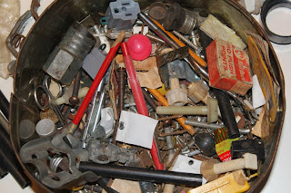 Tin of Junk, found, hardware close up