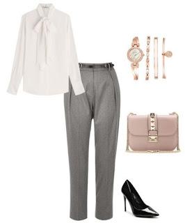 Consultoria de imagem - look profissional - Calças cinzento claro, camisa branca com laçada, mala rígida rosa quartzo, conjunto de relógio e pulseiras dourados e pumps pretos