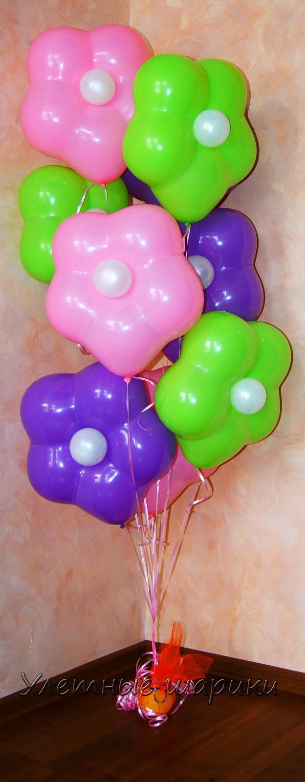 Букет с цветочками  из воздушных шариков