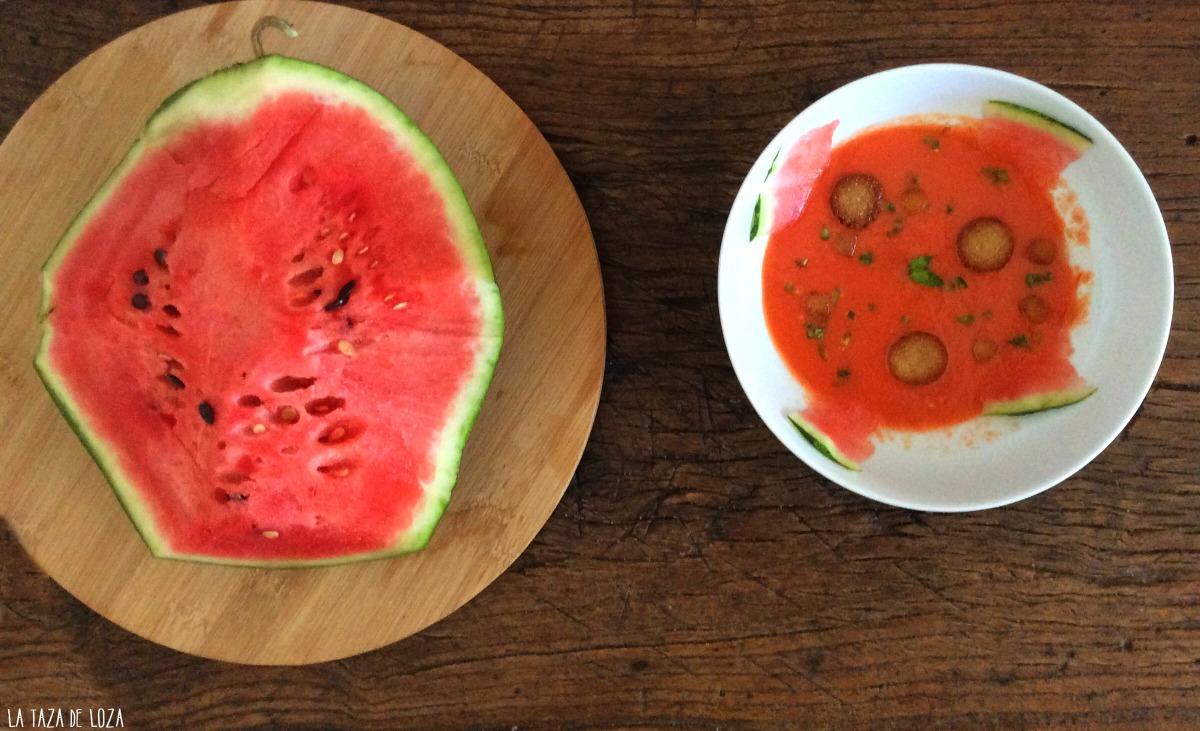 Gazpacho de sandia y fresas