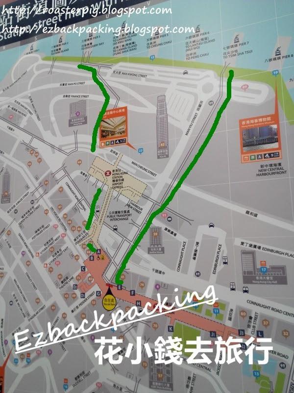 中環地鐵站去中環碼頭地圖