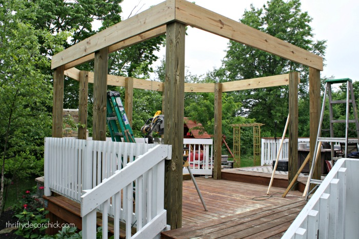 wood pergola on deck