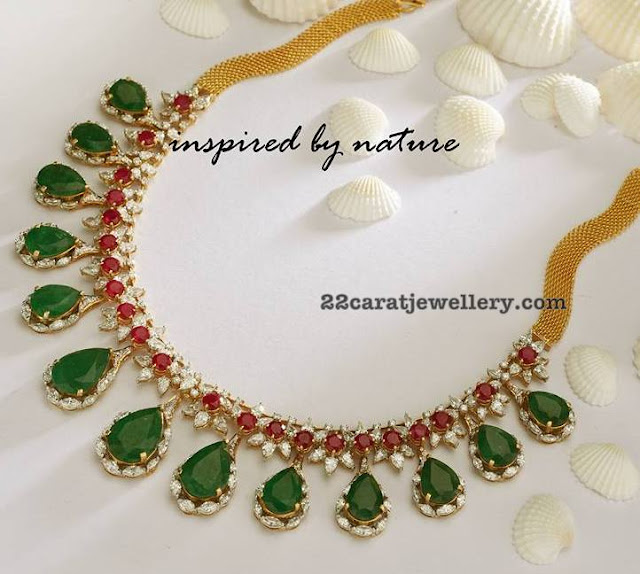 Diamond Ruby Set with Oval Emerald Stones