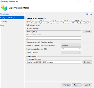Migrate SQL Database to Windows Azure SQL Database, specify target server name