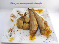 Maira frita con corazones de alcachofa