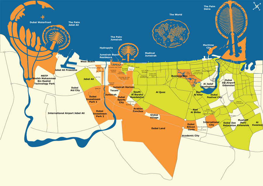 Map of Dubai, UAE