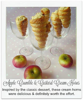 These cream horns (inspired by GBBO 2015) take their flavour combination from the classic dessert.  The horns are filled with creme patisserie, topped with a spice apple compote and finished with crumble pieces.  A bake which is definately worth the effort.