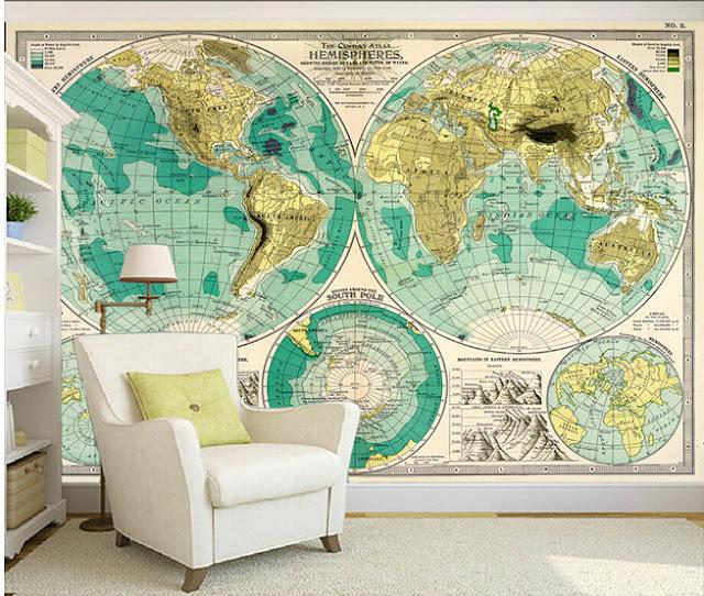 världskarta tapet retro vintage