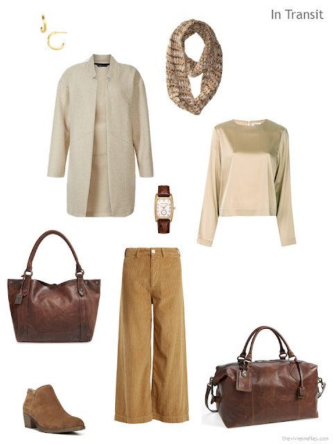 cool weather travel outfit in cream, gold and camel with brown accents
