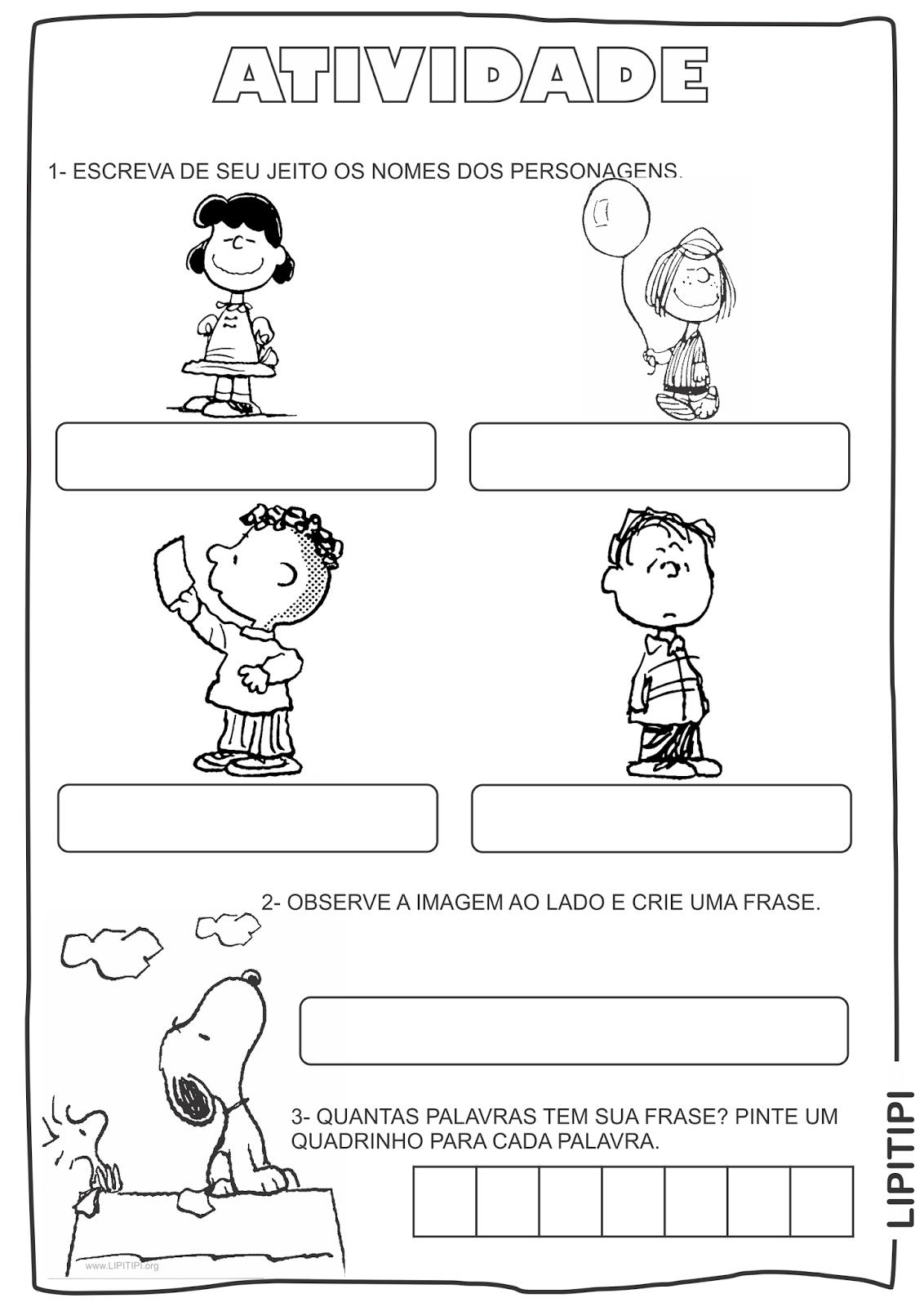 Atividades Snoopy Primeiro Ciclo Auto ditado, formação de frases e ...